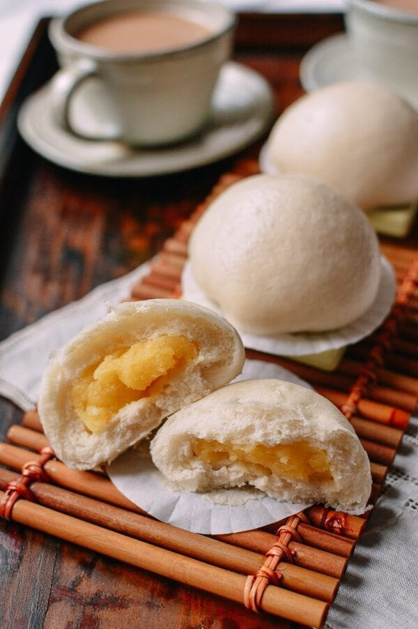Cantonese Steamed Custard Buns (Nai Wong Bao), by thewoksoflife.com