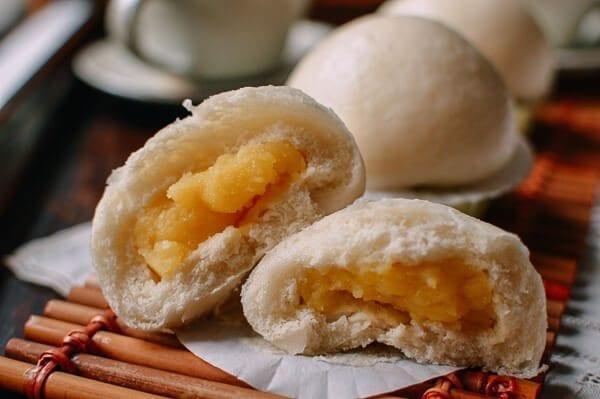 opened Cantonese Steamed Custard Buns (Nai Wong Bao), by thewoksoflife.com