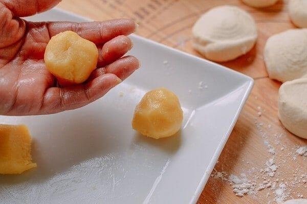 filling balls for Cantonese Steamed Custard Buns (Nai Wong Bao), by thewoksoflife.com