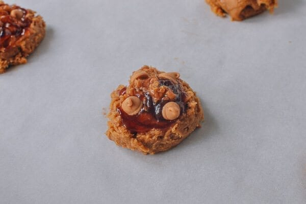 Peanut Butter and Jelly Cookies, by thewoksoflife.com