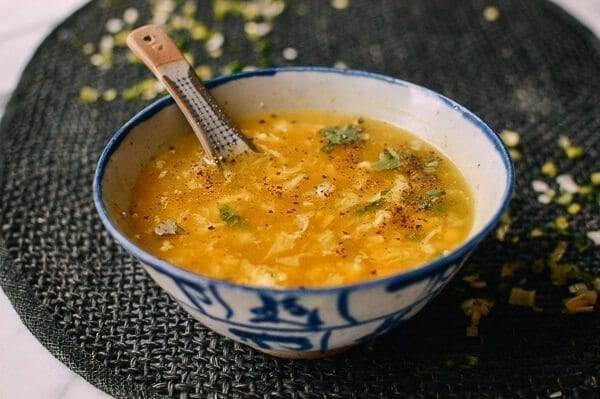 Chicken Corn Egg Drop Soup, by thewoksoflife.com
