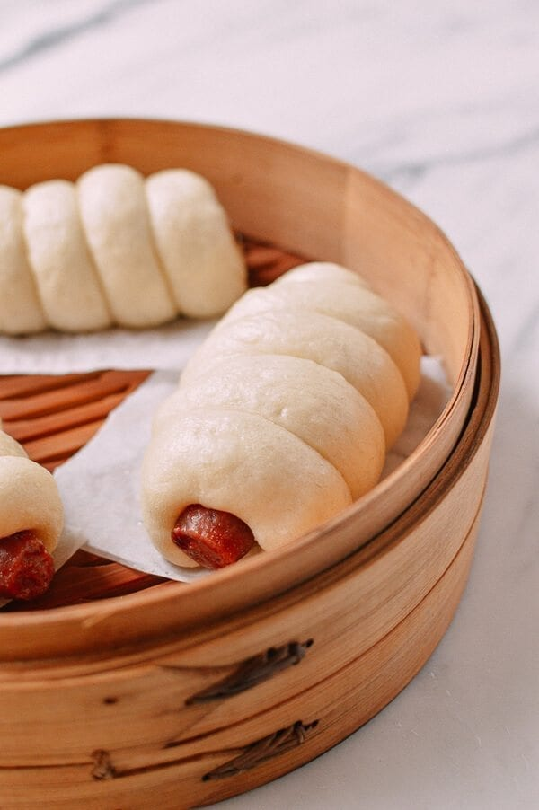 Chinese Sausage Buns (Lop Cheung Bao), by thewoksoflife.com