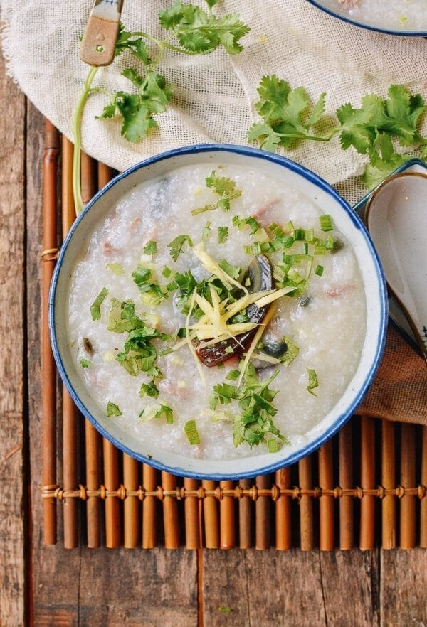 20-Minute Congee with pork and thousand year old egg, by thewoksoflife.com