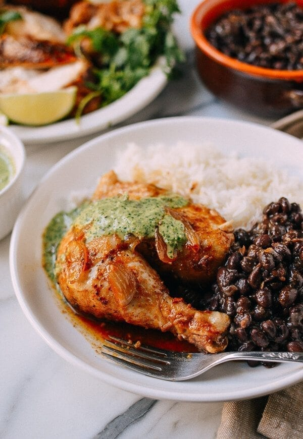 Peruvian Chicken & Green Sauce, by thewoksoflife.com