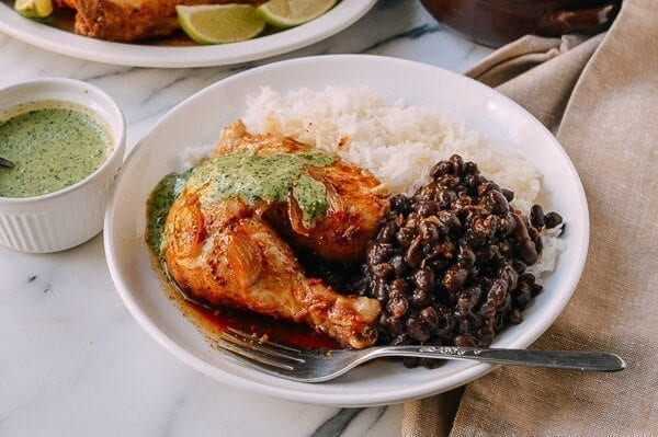 Peruvian Chicken & Green Sauce, by thewoksoflife.com