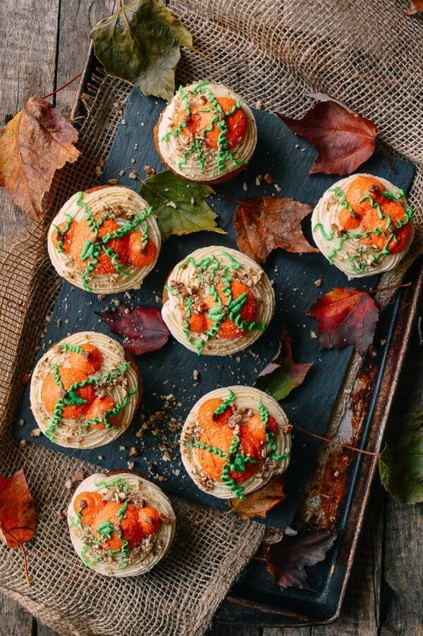 Pumpkin Cupcakes with Maple Vanilla Buttercream, by thewoksoflife.com
