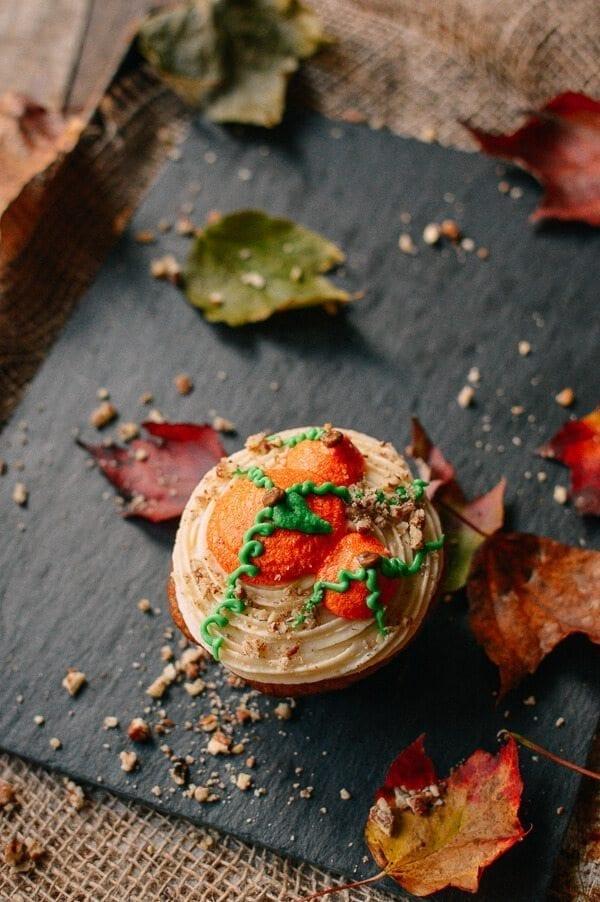 Pumpkin Cupcakes with Maple Vanilla Buttercream, by thewoksoflife.com