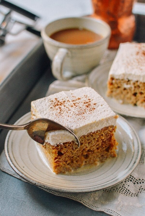Pumpkin Tres Leches Cake with Spiced Cream