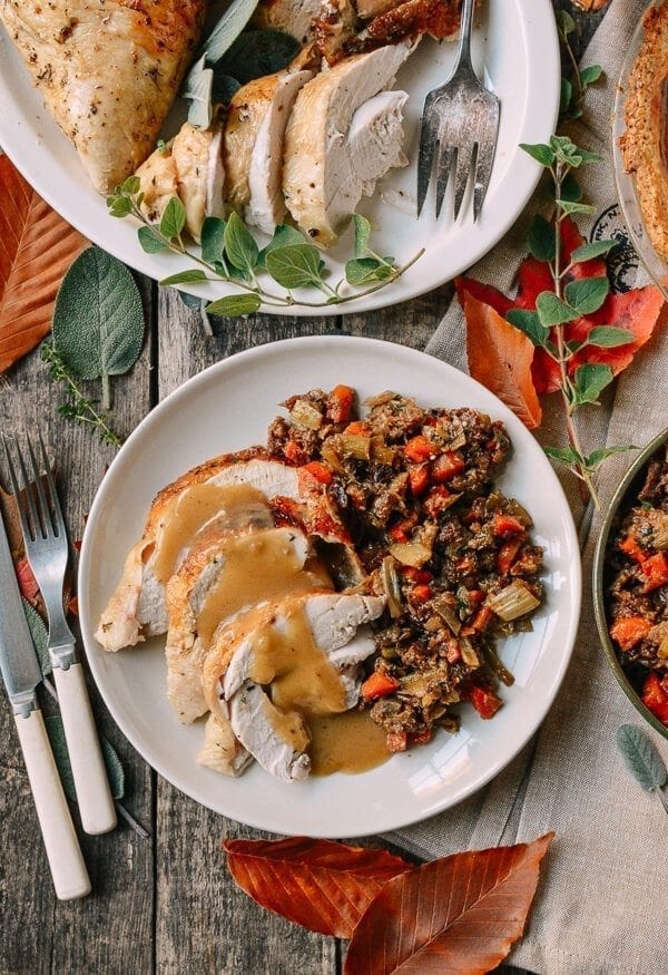 Herb Roasted Turkey Breast with Stovetop Stuffing, by thewoksoflife.com
