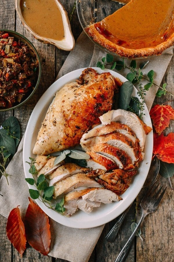 Herb Roasted Turkey Breast with Stovetop Stuffing, by thewoksoflife ...
