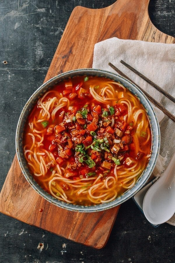 Shanghai Hot Sauce Noodles, by thewoksoflife.com
