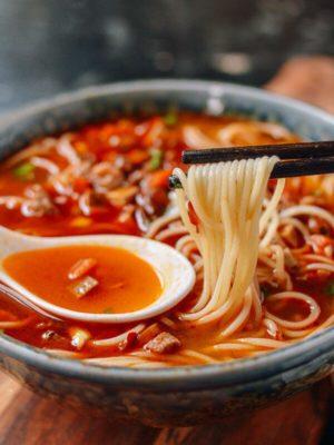 Shanghai Hot Sauce Noodles la jiang mian, by thewoksoflife.com
