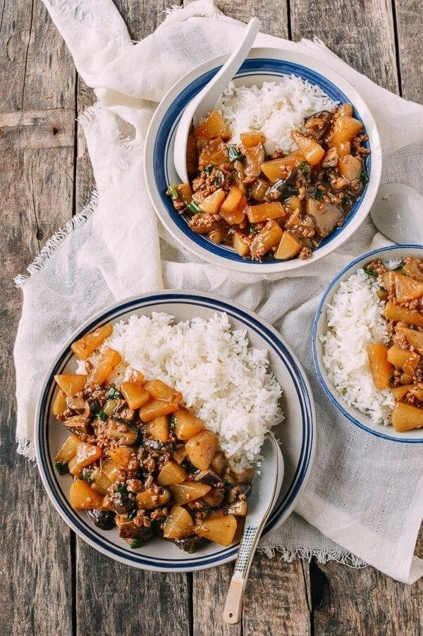 Braised Turnip Rice Bowls, by thewoksoflife.com