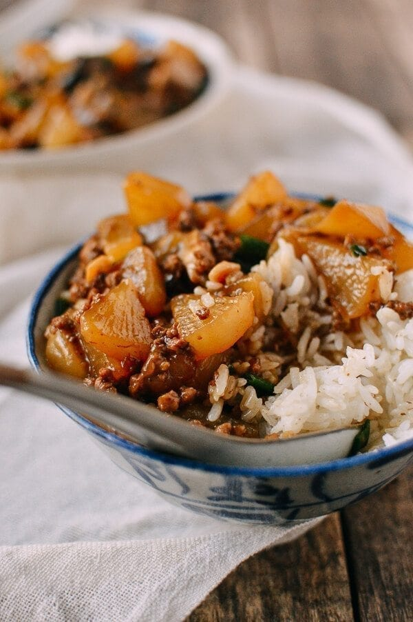 Braised Turnip Rice Bowls, by thewoksoflife.com