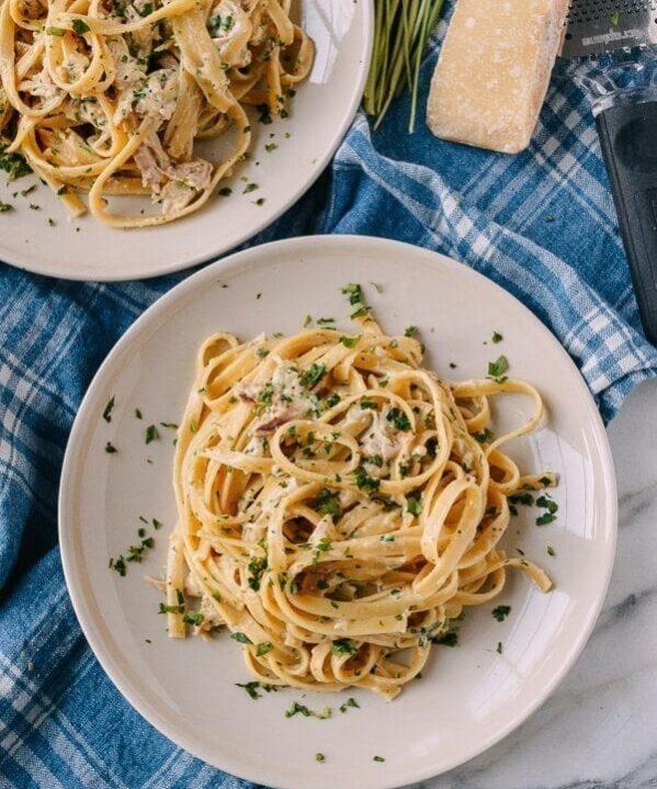 Chicken Fettuccine Alfredo with Roasted Garlic, by thewoksoflife.com