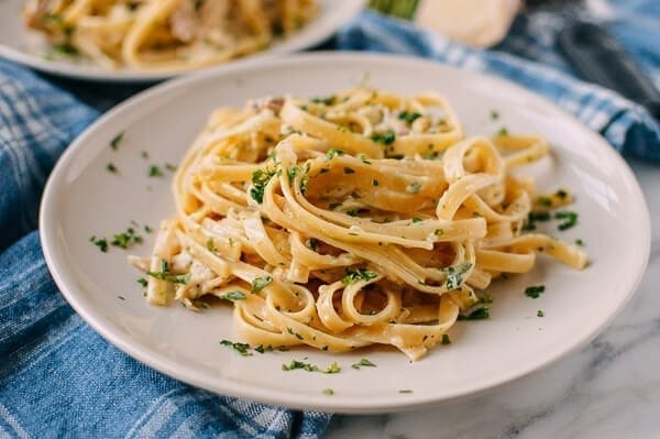 Chicken Fettuccine Alfredo with Roasted Garlic, by thewoksoflife.com