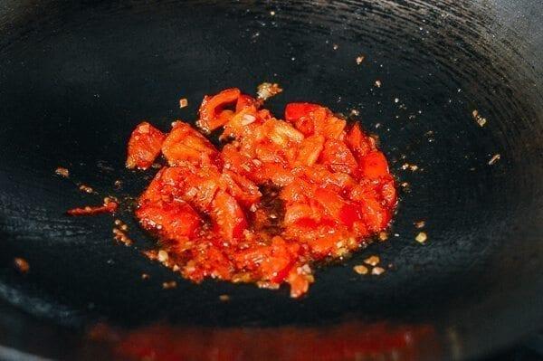 10-Minute Tomato Egg Drop Noodle Soup, by thewoksoflife.com
