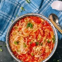 10-Minute Tomato Egg Drop Noodle Soup, by thewoksoflife.com