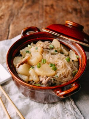 Braised Daikon with Salted Pork & Glass Noodles, by thewoksoflife.com