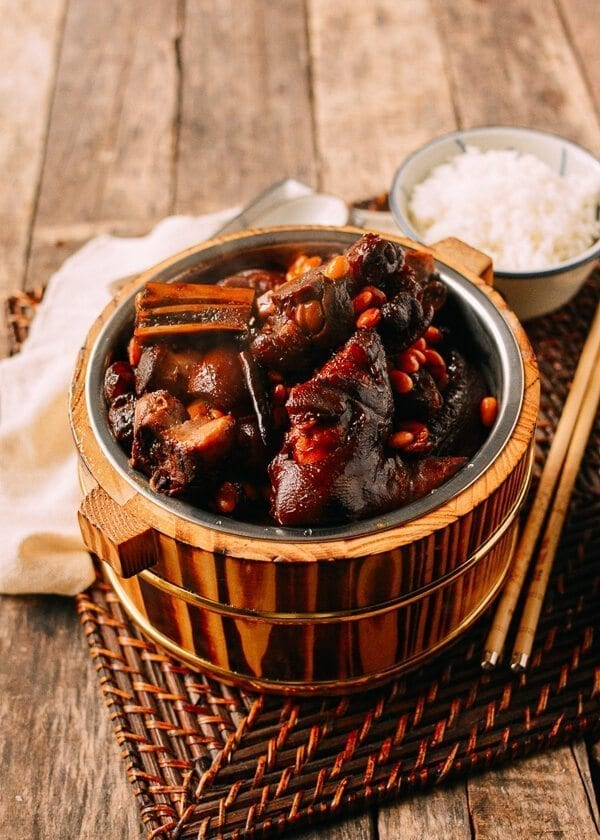 Braised Pork Trotters with Soybeans, by thewoksoflife.com