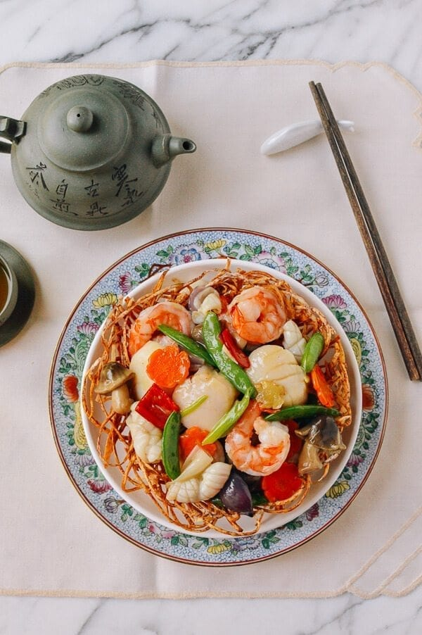 Chinese Seafood Bird's Nest, by thewoksoflife.com