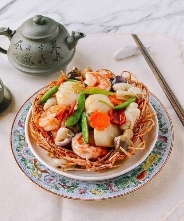 Chinese Seafood Bird Nest, by thewoksoflife.com