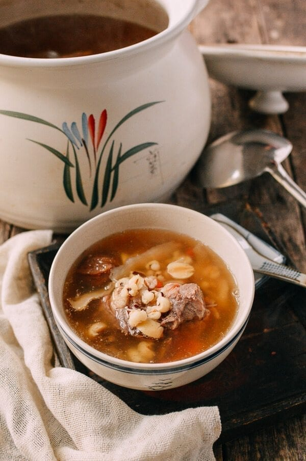 Traditional Chinese Soup - Ching Po Leung Cantonese Herb Pork Bone Soup, by thewoksoflife.com