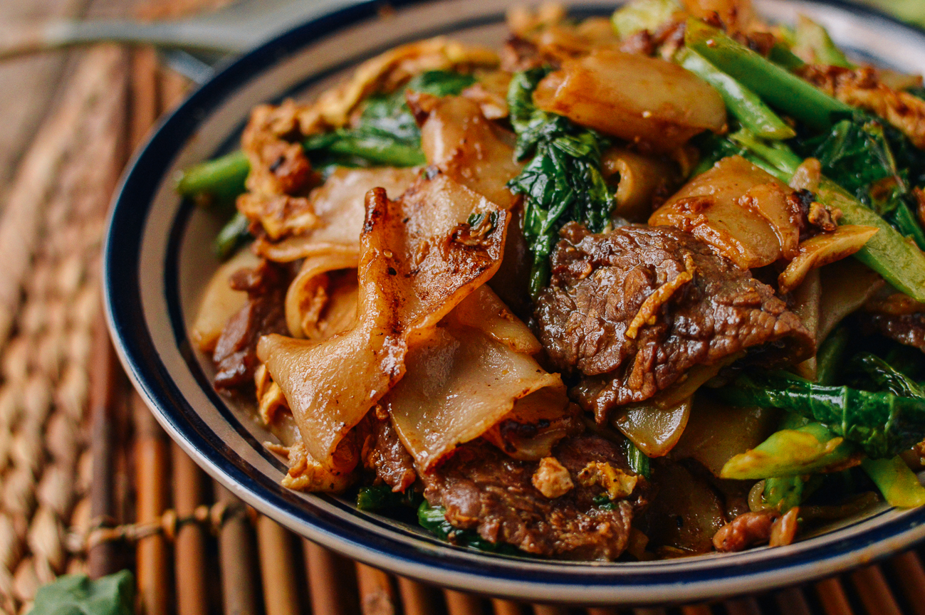 Thai pad see ew with beef, egg, and Chinese broccoli