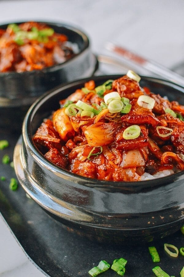 10-Minute Crispy Pork Belly Kimchi Bowls, by thewoksoflife.com