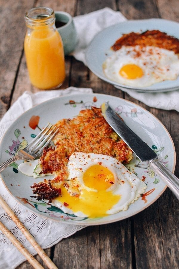 "Crispy ""Sichuan"" Potato Cakes and Eggs, by thewoksoflife.com"