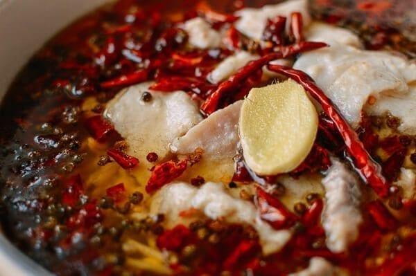Sichuan Boiled Fish (Shui Zhu Yu, 水煮鱼), by thewoksoflife.com
