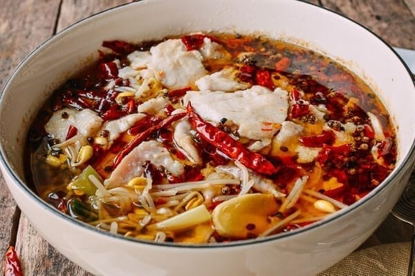 Sichuan Boiled Fish (Shui Zhu Yu, 水煮鱼), by thewoksoflife.com