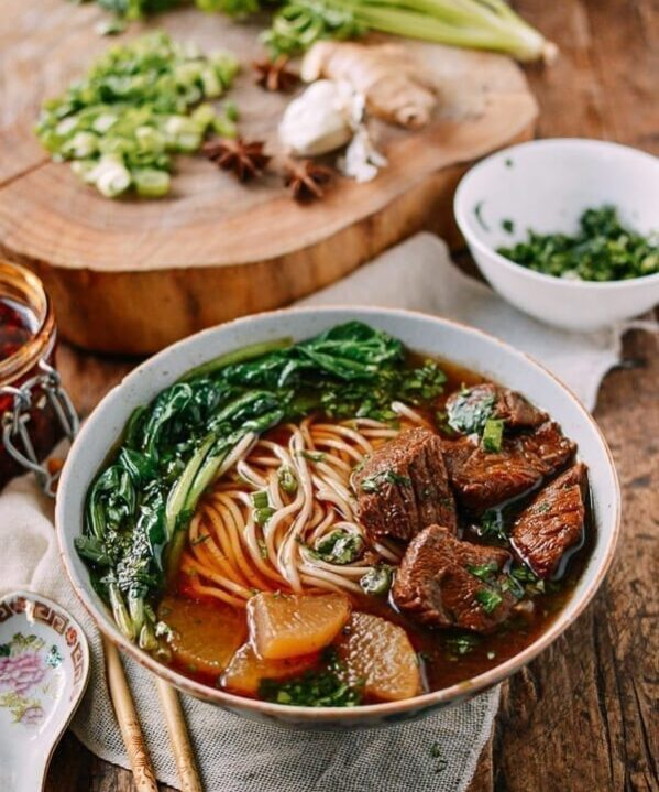 Braised Beef Noodle Soup, by thewoksoflife.com