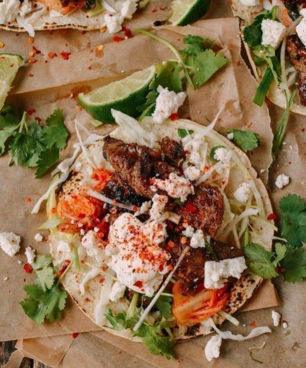 Beef Bulgogi Tacos - Korean Mexican Fusion, by thewoksoflife.com