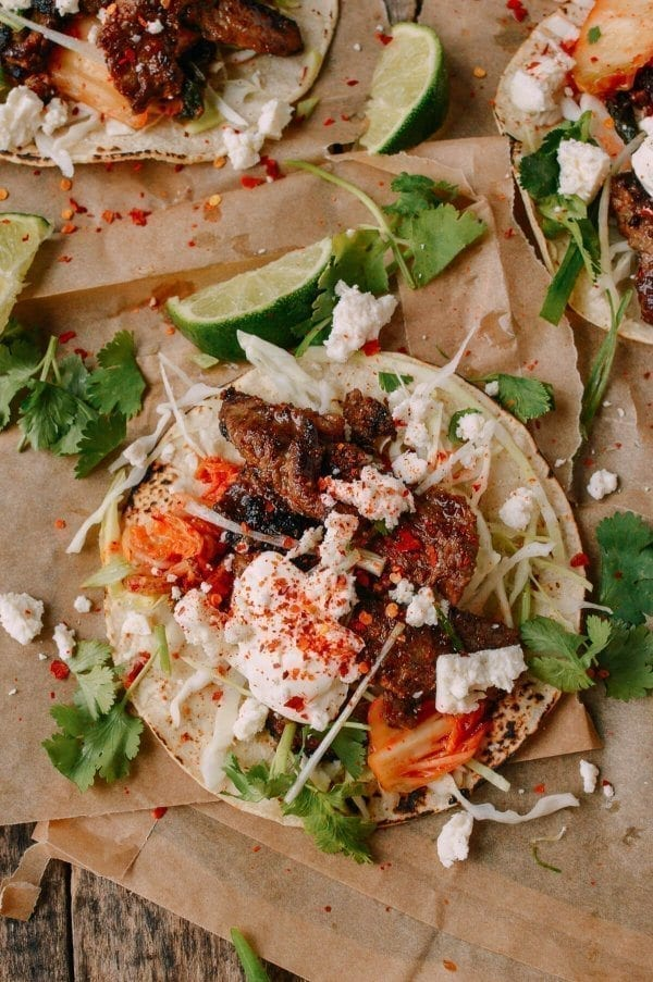 Bulgogi Tacos, by thewoksoflife.com