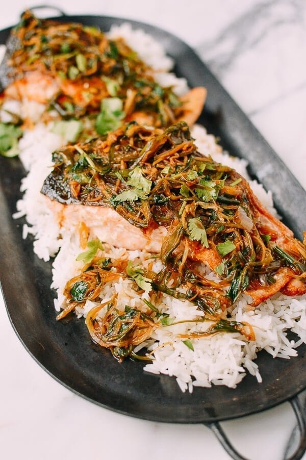 Crispy Scallion Ginger Salmon, by thewoksoflife.com