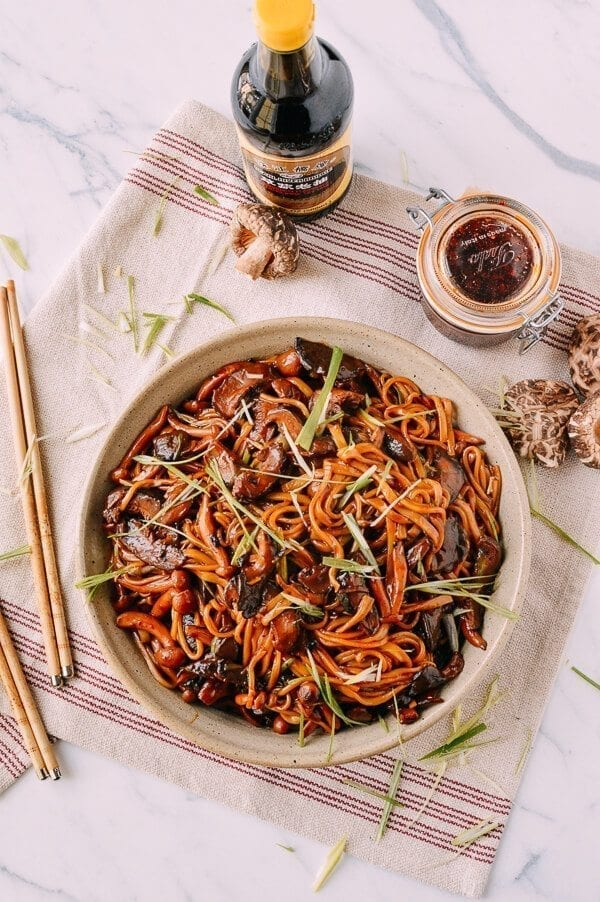 Soy Sauce Braised Wild Mushroom Noodles, by thewoksoflife.com