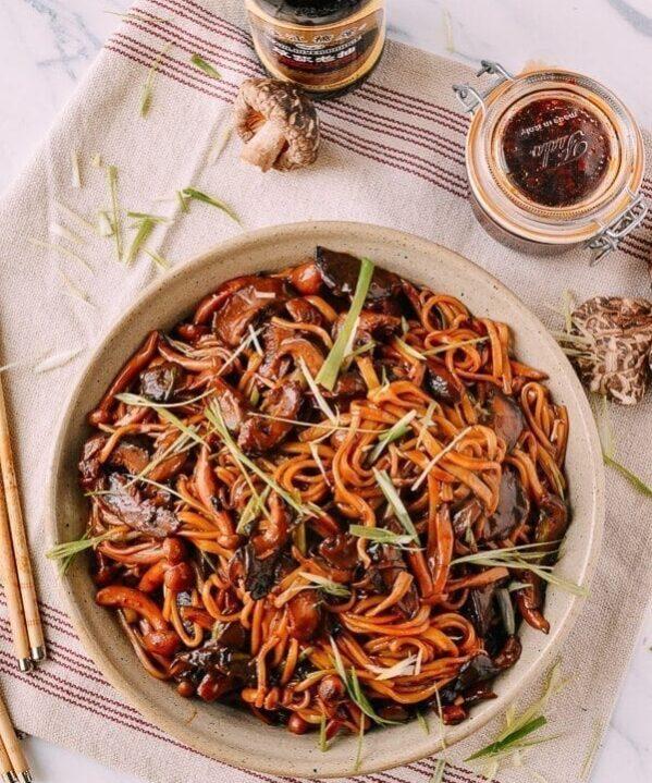 Soy Sauce Braised Wild Mushroom Noodles, by thewoksoflife.com
