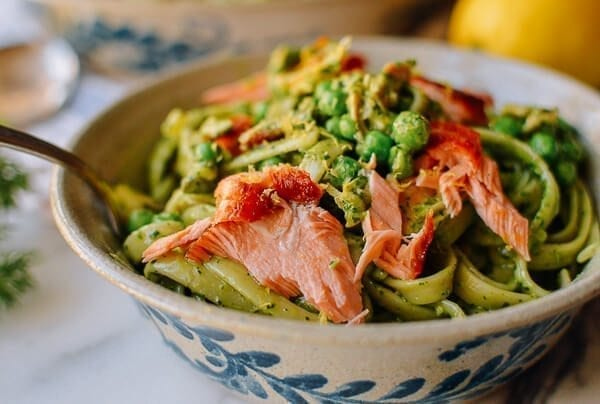 Salmon Pasta with Green Goddess Pesto, by thewoksoflife.com