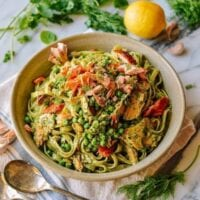 Salmon Pasta with Green Goddess Pesto