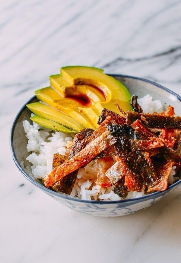 Crispy Salmon Skin Rice Bowls, by thewoksoflife.com