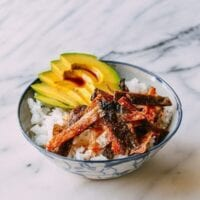 Crispy Salmon Skin Rice Bowls, by thewoksoflife.com