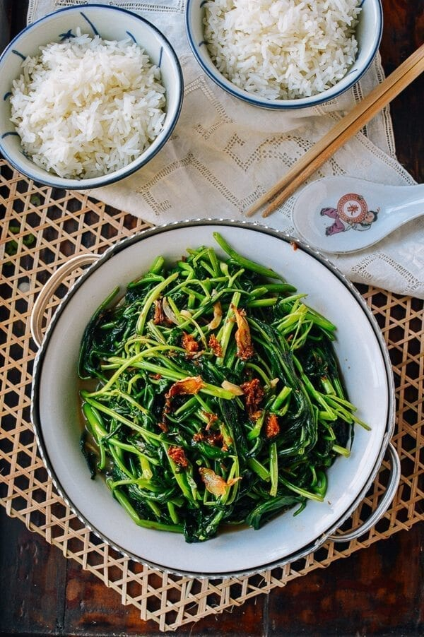 Ong Choy (Water Spinach) with XO sauce, by thewoksoflife.com