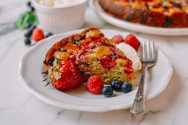 Basil Berry Cake, by thewoksoflife.com