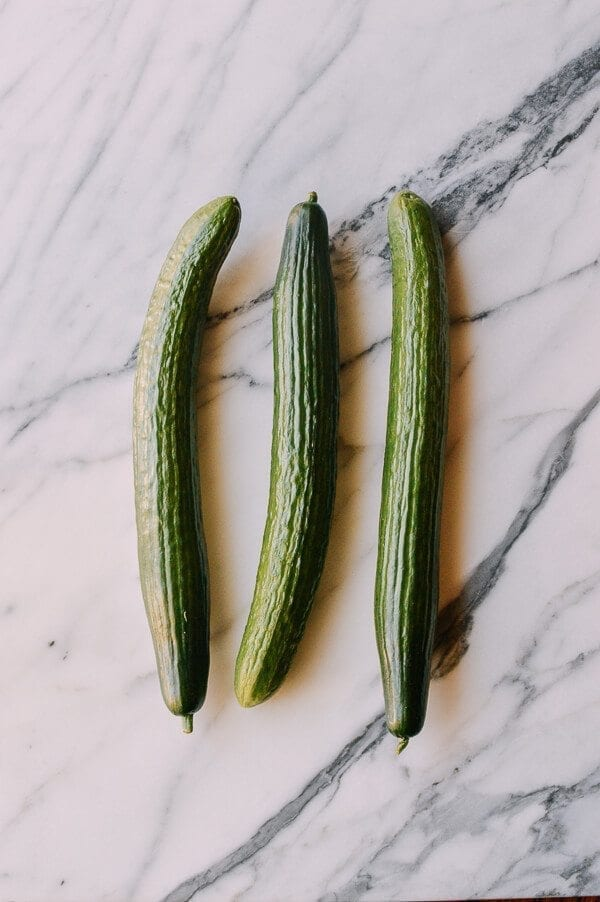 Chinese Pickled Cucumbers, by thewoksoflife.com