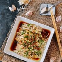 Enoki Mushrooms with Garlic & Scallion Sauce