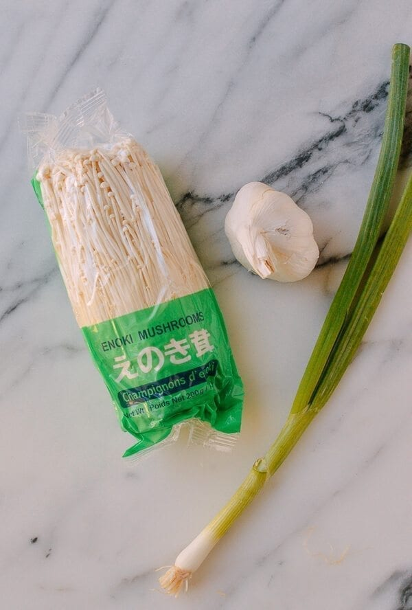 Enoki Mushrooms with Garlic & Scallion Sauce, by thewoksoflife.com