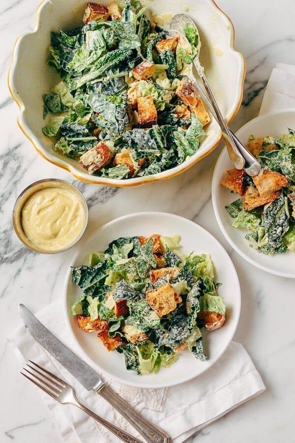 Caesar Salad with Tuscan Kale, by thewoksoflife.com