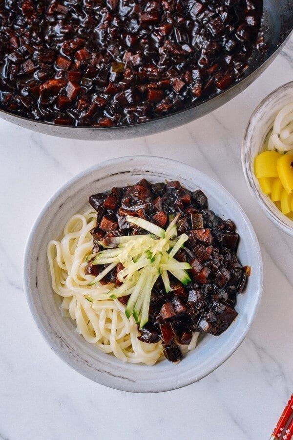 Korean Black Bean Noodles (Jajangmyeon), by thewoksoflife.com