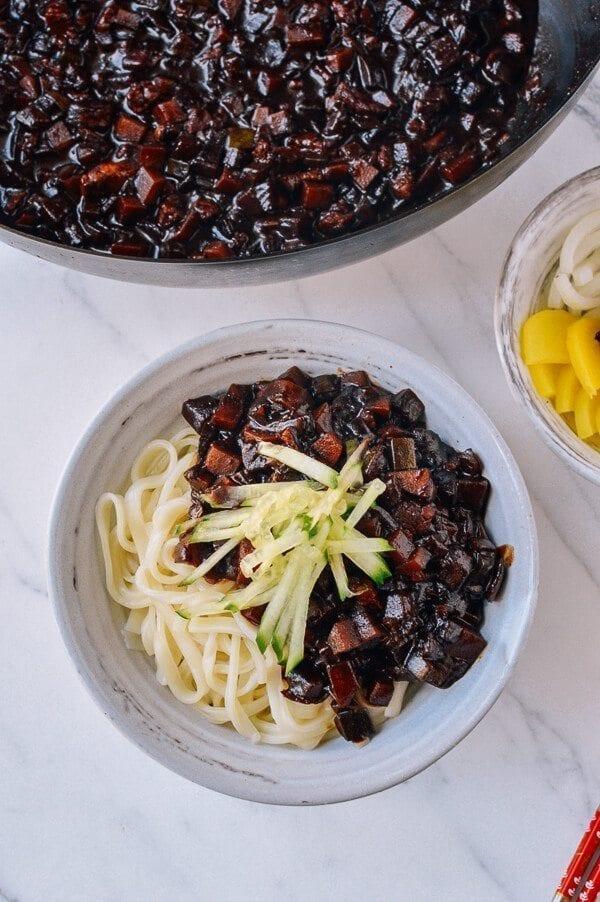 Korean Black Bean Noodles (Jajangmyeon), by thewoksoflife.com